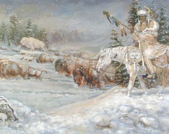Winter Spirits - 24x48 sofa-sized western oil painting