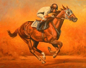 Blazin Fast, original racing oil painting equine 16x20 horse art by Kerry Nelson