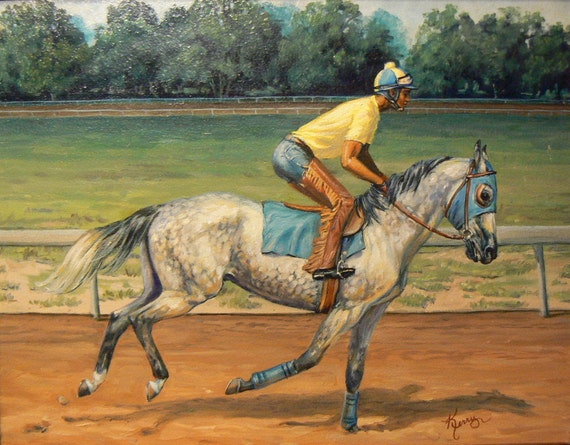 SALE  Original horse racing oil painting 11x14 framed equine art by Kerry Nelson
