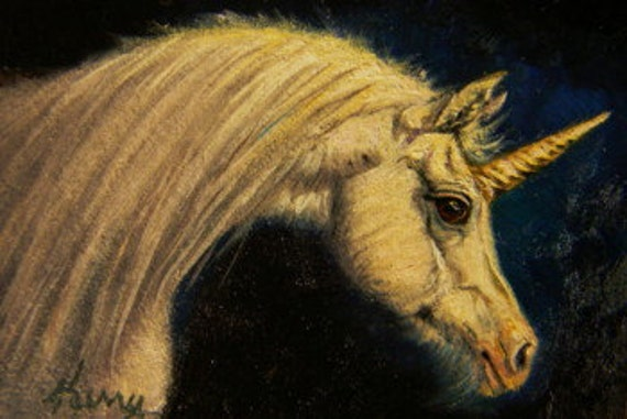 GOLDEN UNICORN original oil ACEO painting, equine horse art by Kerry Nelson