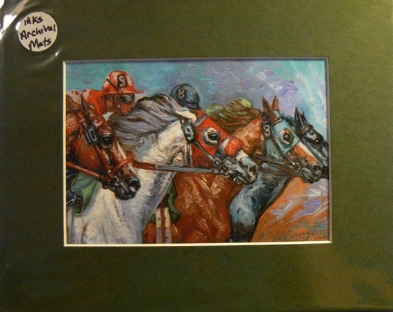 SURGE horse racing jockeys horses giclee print in 8x10 mat equine art by Kerry Nelson