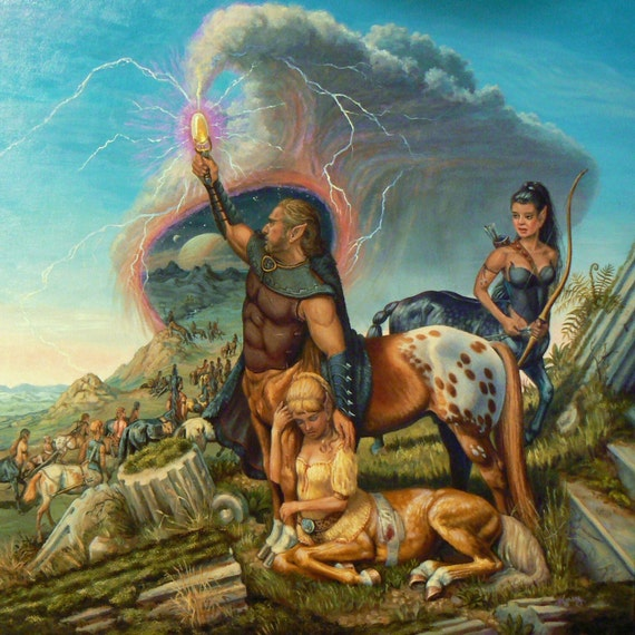 Centaurs Exodus 18x18 canvas giclee limited ed. print by Kerry Nelson