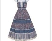 Vintage 70s Paisley Calico Corset Sun Dress XS S