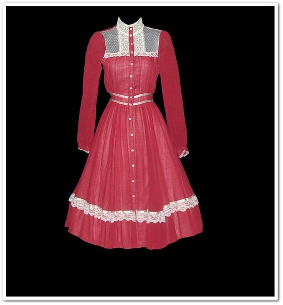 Vintage 70s Gunne Sax Red Country Dress XXS or XS