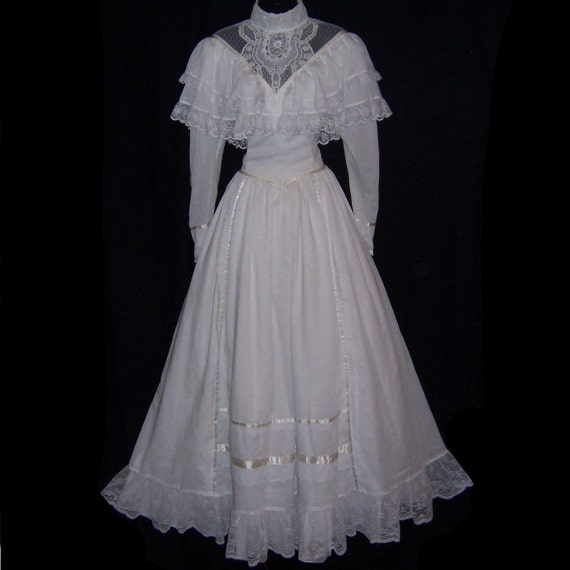 Vintage 80s gunne sax southern belle civil war style wedding for Belle style wedding dress