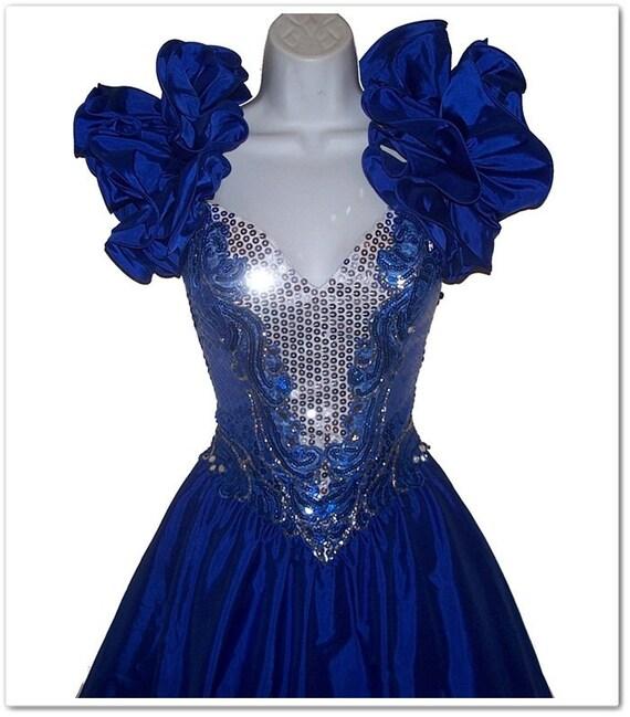 Vintage 80s Blue Glitter Sparkle Sequins Prom Dress S