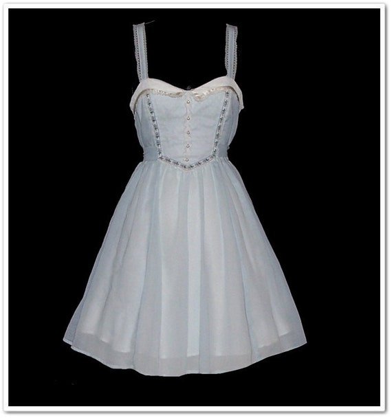 Vintage 70s Gunne Sax Blue Mini Sun Dress XXS or XS