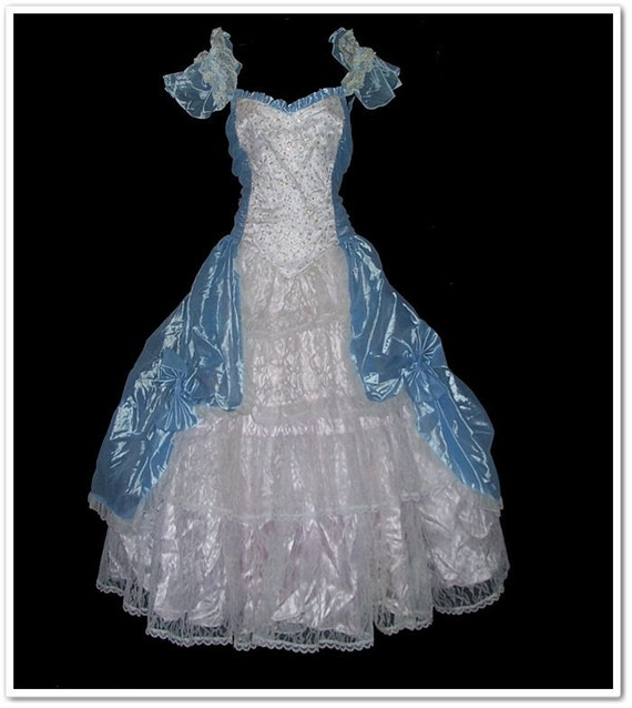 Vintage 80s Gunne Sax Blue Glitter Formal Dress L XL