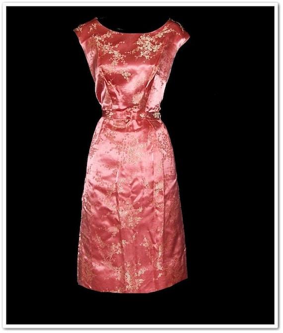 Vintage 50s 60s Alfred Shaheen Brocade Dress M L