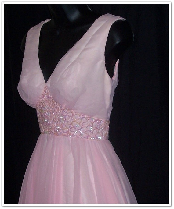 Vintage 70s Pale Pink Mike Benet Sequins Party Dress XS S