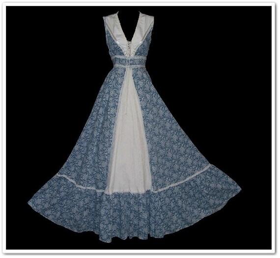 Vintage 70s Gunne Sax Blue White Floral Corset Sun Dress S