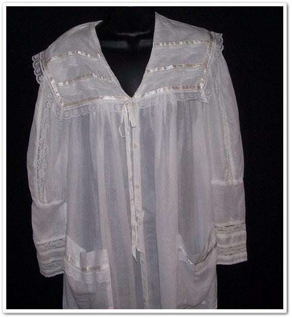 Vintage 80s Gunne Sax Sheer Antique Style Robe M L XL