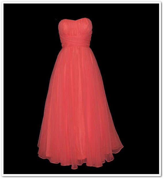 Vintage 70s Mike Benet Strapless Melon Party Dress XS