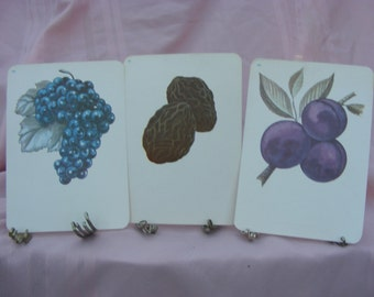 SALE 3 Vintage 1972 Flash Cards Featuring Fruit for Scrapbooking, Framing, Collage, or Altered Art