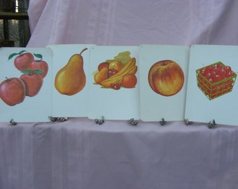 Sale  5 Vintage 1972 Flash Cards Featuring Fruit for Scrapbooking, Framing, Collage, or Altered Art