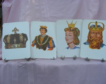 Sale 4 Vintage 1972 Flash Cards Featuring Royal Figures for Scrapbooking, Framing, Collage, or Altered Art