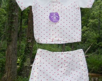 Brand New with Tag Vintage Baby Boy Two Piece White with Red Polka Dots Outfit