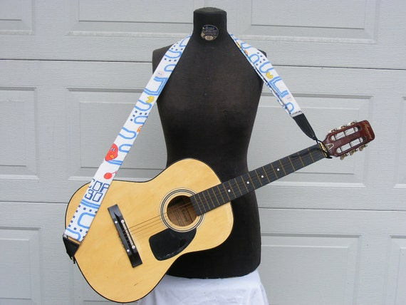 Upcycled Adjustable Guitar Strap with Vintage Pacman Fabric and Black Leather
