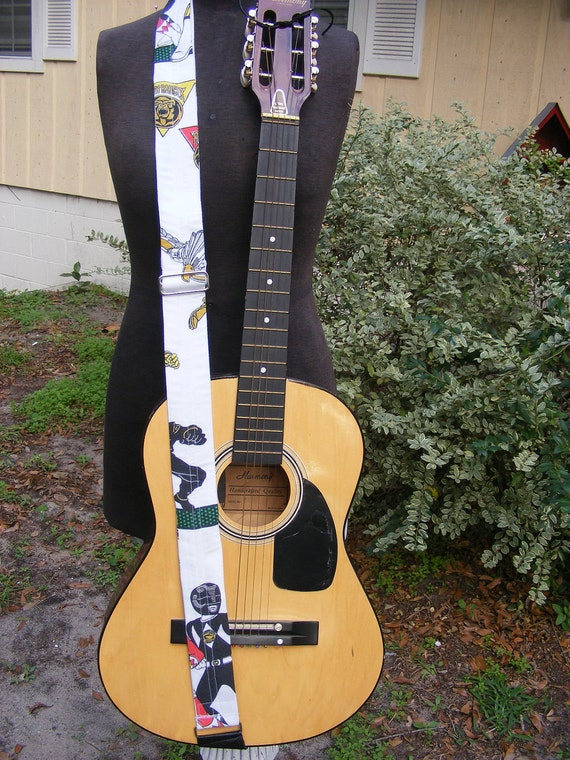 Upcycled Adjustable Guitar Strap made from Vintage Power Ranger  Fabric and Black Leather