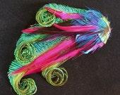 Beautiful Peacock and Fuchsia Feather Hair Piece-Custom Made