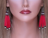 Red Isis Painted Feather Earrings