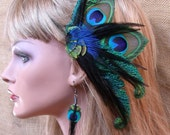 Black Peacock  Feather Hair Piece with matching Peacock Feather Earrings- Custom Made, other colors available