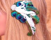 Peacock and Ivory Feather Hair Clip with Rhinestone Cluster