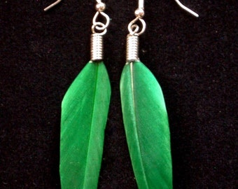 Perfect Emerald Green Feather Earrings