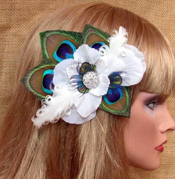 Peacock  Bride Feather Hair Clip- Ready to Ship
