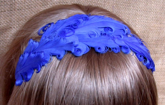Something Blue Feather Headband- SALE