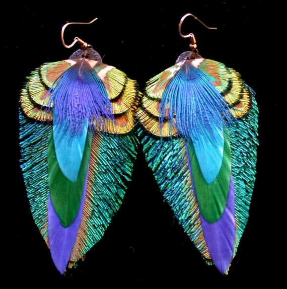 Peacock Feather Earrings-  Colorful feather earrings