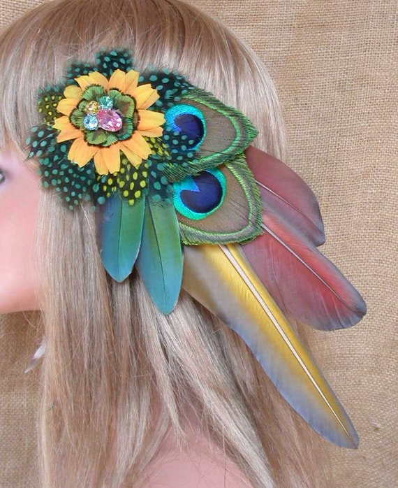 Exotic Feather Hair Clip-  Reserved