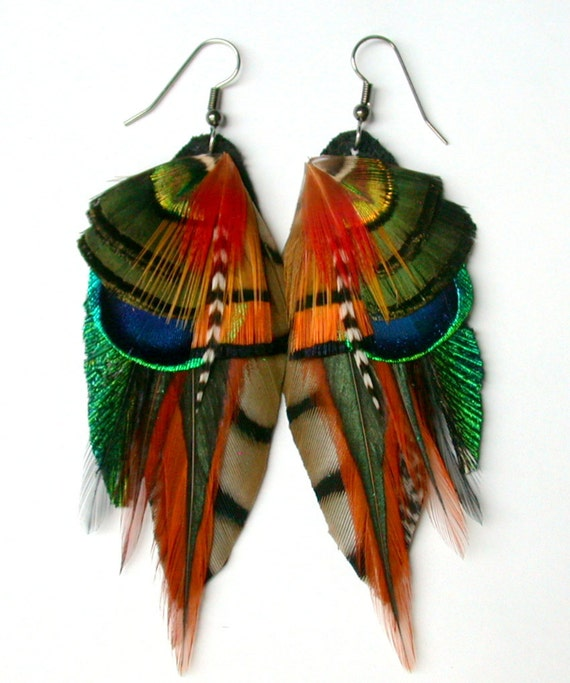 Earthy Feather Earrings- All Natural Colors