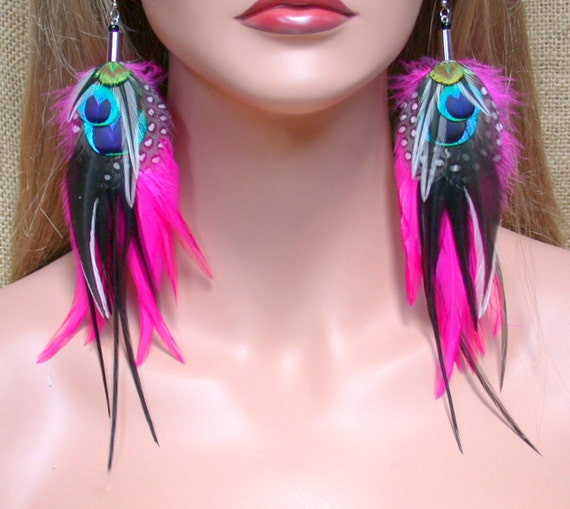 Long Pink and Black Peacock Eye Feather Earrings- Ready to Ship