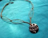 Eco Tribal Hemp Necklace with Porcelain Handpainted Pendant