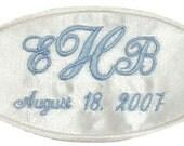 RUSH STATUS -- Erica Satin Wedding Dress Name Label Custom Embroidered Personalized
