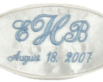 Erica Satin Wedding Dress Name Label Custom Embroidered and Personalized