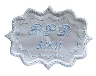 Bethany Embroidered and Personalized  Wedding Gown Frame Style Label in Bridal Blue and Creamy Off White