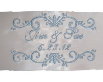 Jennifer  embroidered and Personalized Satin Ribbon Wedding Gown Label AND Gift Box