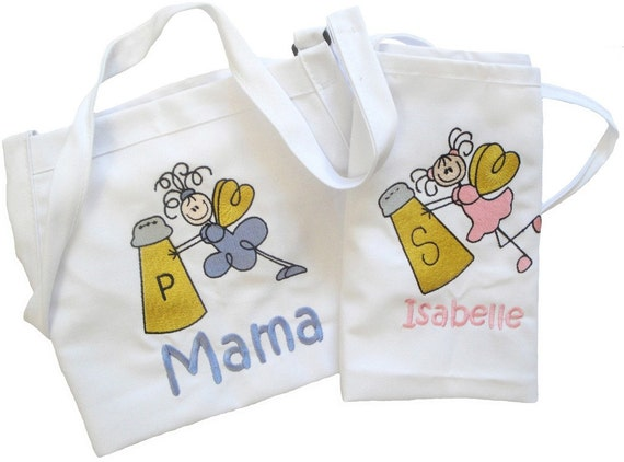 Custom Embroidered Personalized Apron Set for Mother-Daughter - small size child apron