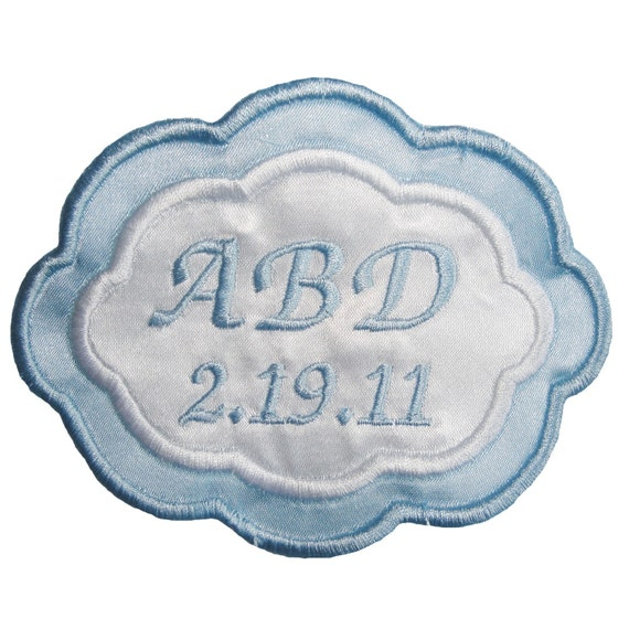 Reserved for Jean -- Arielle Embroidered and Personalized Wedding Gown Label in Bridal Blue and White