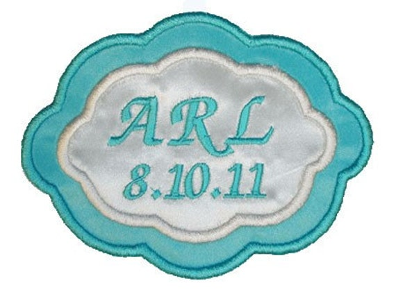 Arielle Embroidered Personalized Wedding Gown Label in Blue Green and Off White - Cream