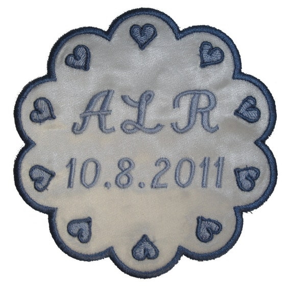 Veronica Wedding Gown Label in Scallops and Hearts Custom Embroidered and Personalized