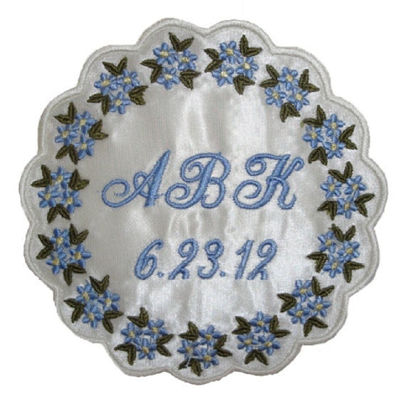 Barbara  Satin Scalloped Edge Forget Me Not Flower Wedding Gown Label Custom Embroidered Personalized
