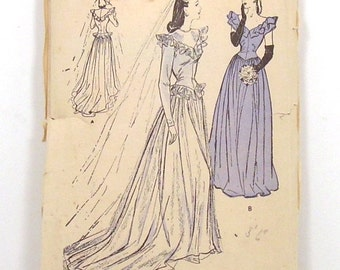 c1945 Butterick Wedding Gown Sewing Pattern 3685