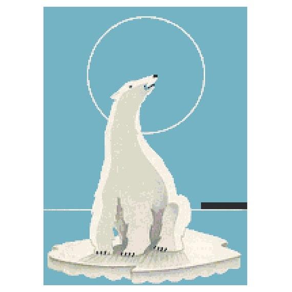 Art Deco Polar Bear PDF Cross Stitch