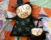 Primitive Halloween Wilhemina Witch and Wonky Cat Digital e-pattern