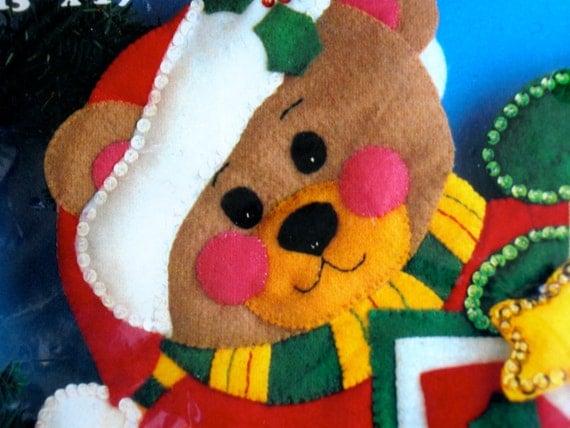 Vintage Christmas Felt Kit - Teddy Bear Christmas