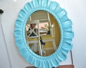 Mirror Mirror on the Wall... Vintage Turquiose Blue Syroco Oval Standing Mirror