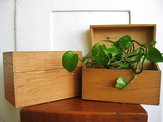 Think Outside the Box... Vintage Large Dovetail Wooden Recipe Box Holder or Index Card File Box